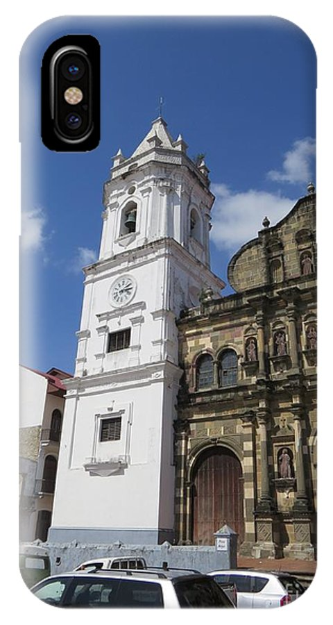 City Of Panama Cathedral IPhone X Case featuring the photograph The Clock Of A Lady by Vladimir Berrio Lemm