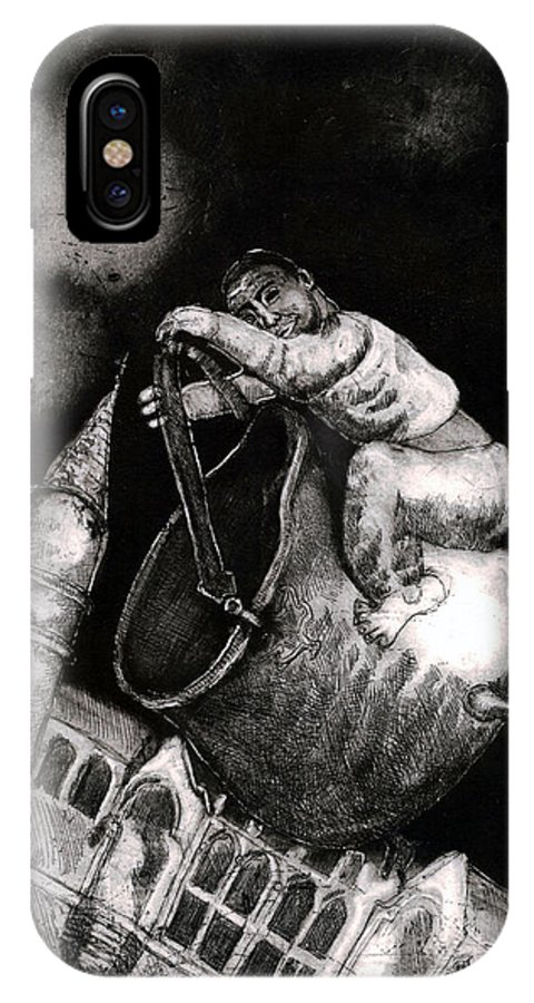 Surreal IPhone X Case featuring the drawing The Coal Scuttle Rider by Sassy Luke