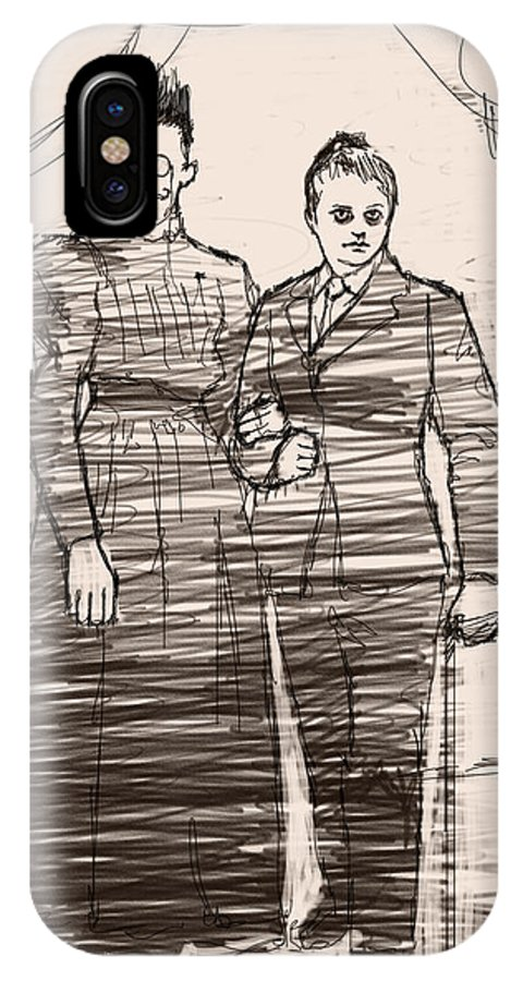 Cross Dressing IPhone X Case featuring the drawing The Colonel And The Mrs by H James Hoff