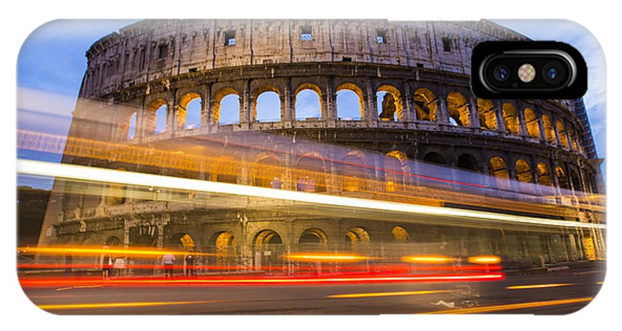Flavian IPhone X / XS Case featuring the photograph The Colosseum-blue Hour by Mircea Costina Photography