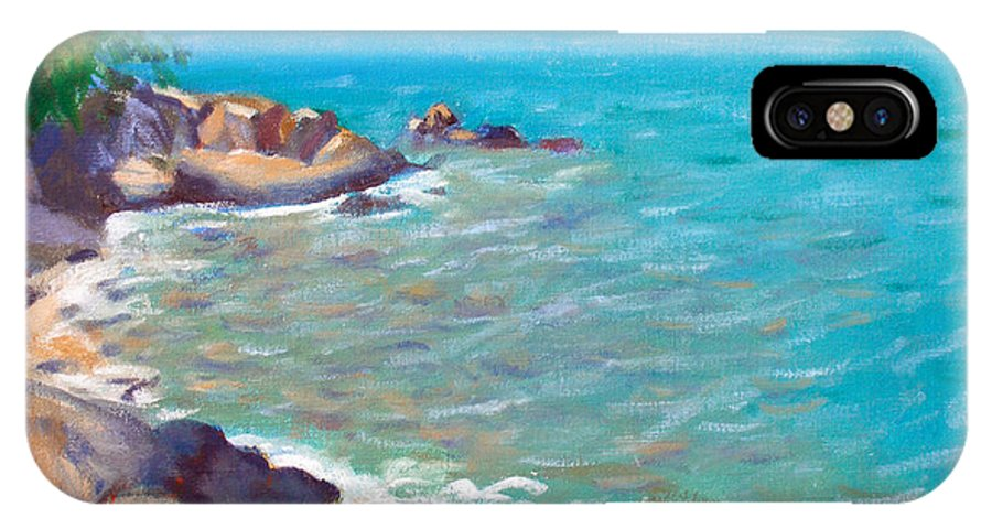 Honey Moon Beach IPhone X Case featuring the painting The Cottage View by Candace Lovely