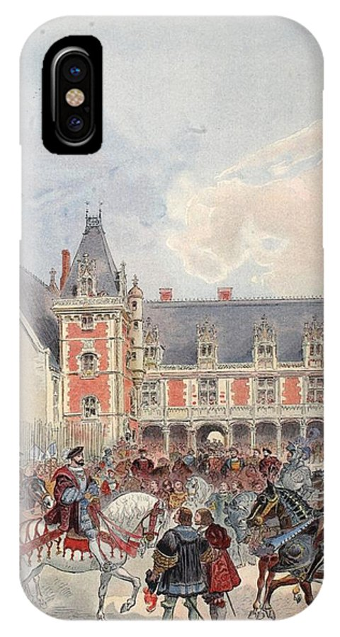 France IPhone X Case featuring the drawing The Court In Chateaus Of The Loire by Albert Robida