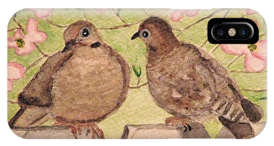 Mourning Doves IPhone X Case featuring the painting The Courtship by Angela Davies