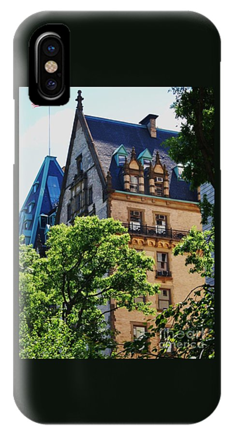 New York Art Iconic Building Dakota Landmark Architectural Legendary Home Gothic Old Glory Outdoors Street Scene Windows Vertical Spring Roofs Wood Print Canvas Print Metal Frame Poster Print Available On Phone Cases T Shirts Spiral Notebooks Mugs Tote Bags And Shower Curtains IPhone X Case featuring the photograph The Dakota, New York City by Marcus Dagan