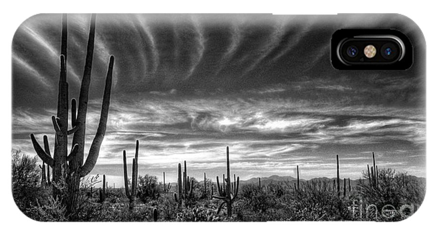Arizona IPhone X Case featuring the photograph The Desert In Black And White by Saija Lehtonen