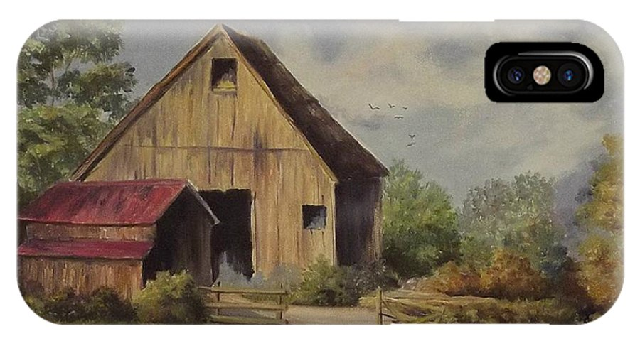 Landscape IPhone X Case featuring the painting The Deserted Barn by Wanda Dansereau