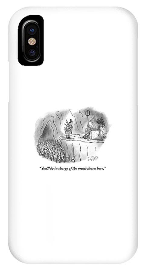 Bagpipes IPhone X Case featuring the drawing The Devil Speaks To A Bagpiper In Hell by Sam Gross