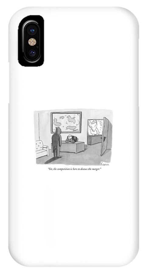Devil IPhone X Case featuring the drawing The Devil Stands Before A Male Secretary / by Zachary Kanin