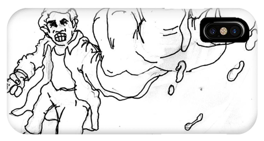 Cartoon IPhone X Case featuring the drawing The Disempactor by Del Gaizo
