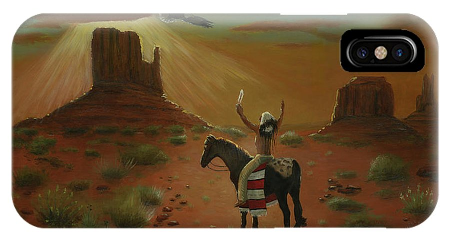 Eagle Indian Original Oil Painting Art Canvas Cecilia Brendel Painter Of Light Native American Culture Story Holy Spirit Utah Monument Valley Desert Scene Cactus Sand Blue Sky Sun Set Apaloosa Horse IPhone X Case featuring the painting The Eagle And The Indian by Cecilia Brendel