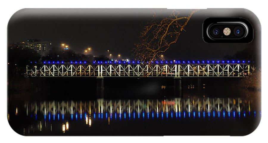 East IPhone X Case featuring the photograph The East Falls Bridge At Night - Philadelphia by Bill Cannon