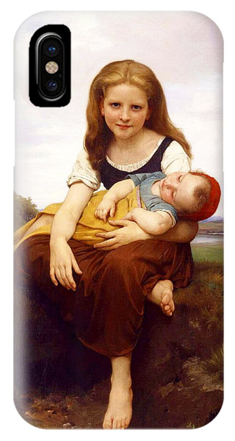 The Elder Sister IPhone X Case featuring the painting The Elder Sister by William-Adolphe Bouguereau