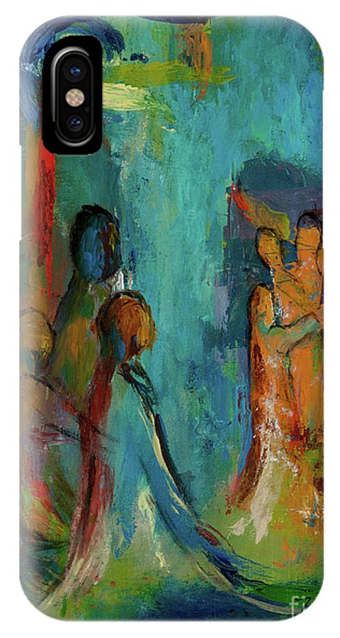 Abstract IPhone X Case featuring the painting The Embrace by Larry Martin