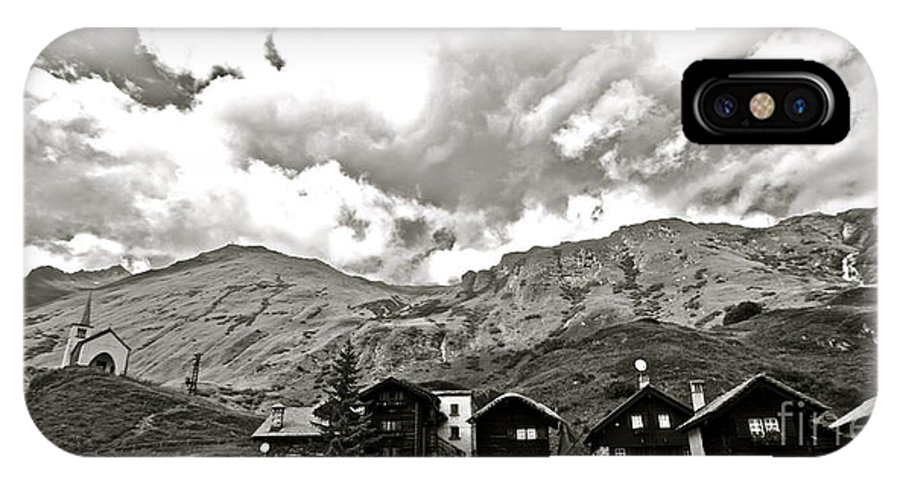 Europe Italy The Alps Mountains Wilderness Landscape Civilization Church Sky Houses Religious Black And White Hills European Vacation Rustic Hiking Nature Adventure IPhone X Case featuring the photograph The End Of Road by Deborah Talbot - Kostisin