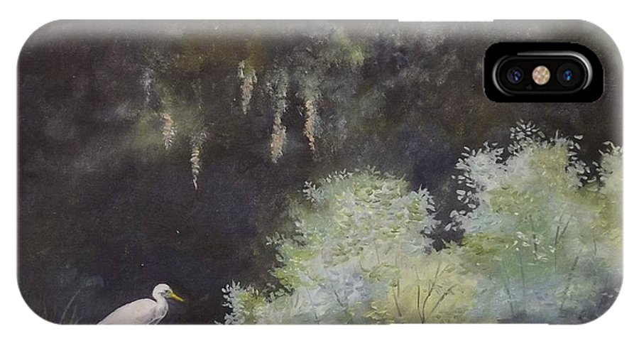 The Everglades IPhone X Case featuring the painting The Everglades by Wanda Dansereau