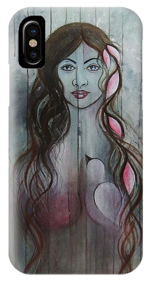 Portrait IPhone X Case featuring the painting The Fanatic Beauty by Aashish Moga