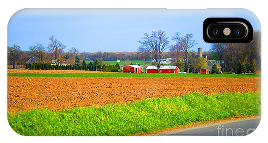 Landscape IPhone X Case featuring the photograph The Field Is Plowed 2014 by Tina M Wenger