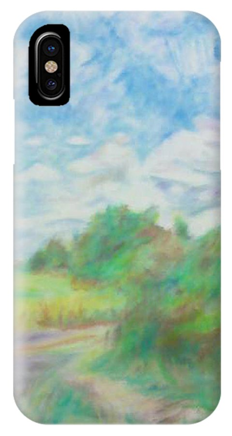 Landscape IPhone X Case featuring the pastel The Field by Kim Cyprian