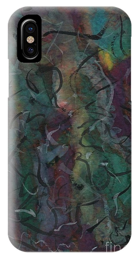 Abstract IPhone X Case featuring the painting The Fiesta by Myrtle Joy