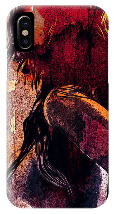 Girl Female Woman Nude Virgin Fighter Color Colorful Erotic Portrait Expressionism Impressionism Fighting Breast Tits Boobs Sexy Beauty IPhone X Case featuring the digital art The Fighter by Steve K