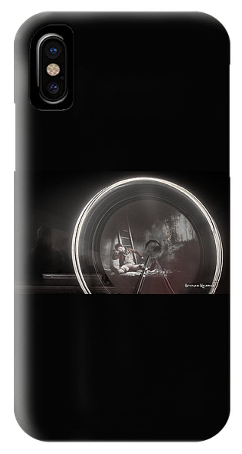 Fine Art America IPhone X Case featuring the photograph The Fire Wheel Ghost Man by Stwayne Keubrick