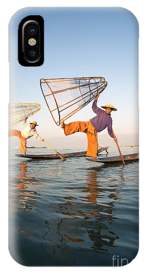 Travel IPhone X Case featuring the photograph The Fishermen - Inle Lake - Myanmar by Matteo Colombo
