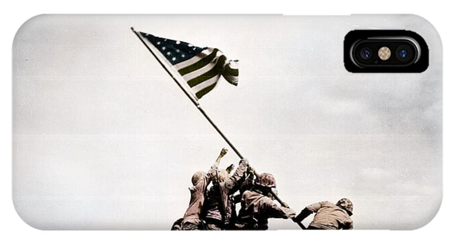 The Flag Raising IPhone X Case featuring the photograph The Flag Raising At Iwo Jima World