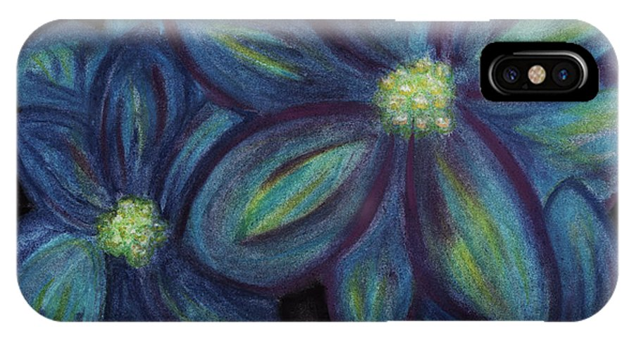 Blue IPhone X Case featuring the pastel The Flowers Are Blue by Ashley King