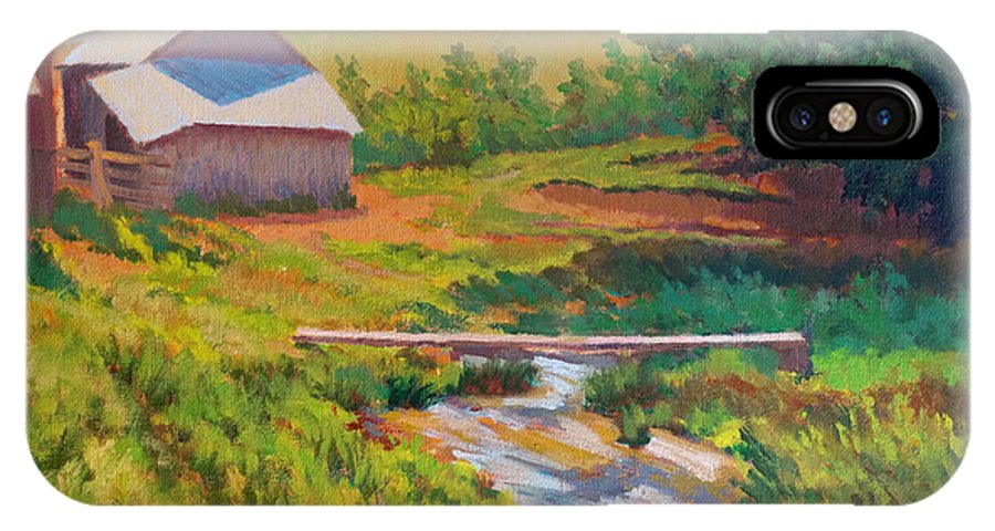 Impressionism IPhone X Case featuring the painting The Foot Bridge by Keith Burgess