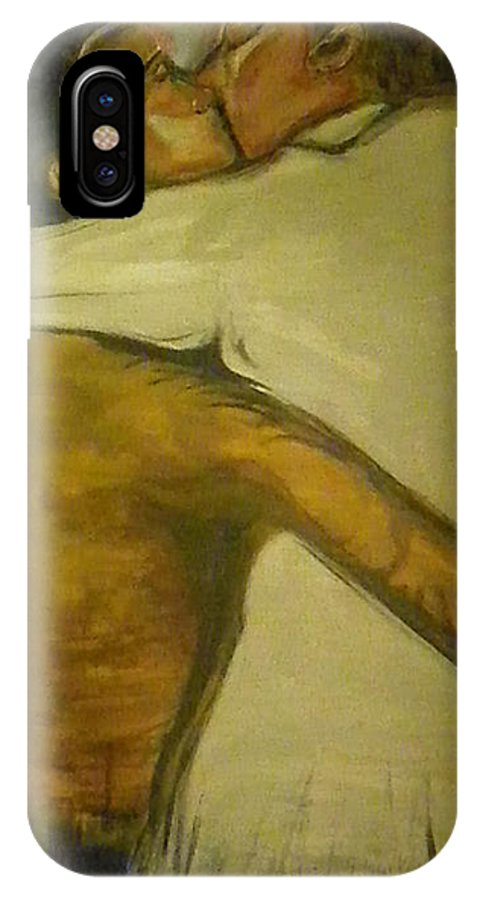 Kissing IPhone X / XS Case featuring the painting The French Kiss by Lucy Matta - LuLu
