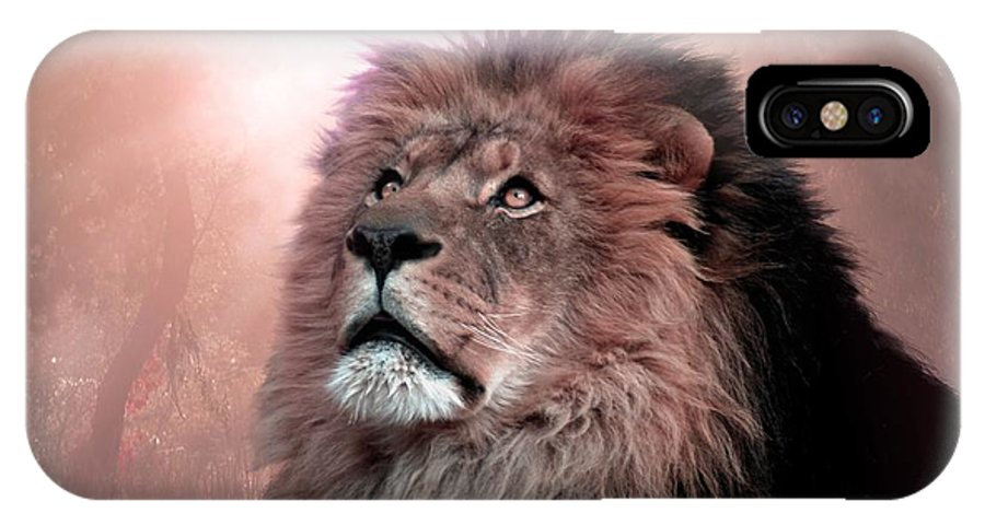 Lion IPhone X Case featuring the digital art The Garden by Bill Stephens