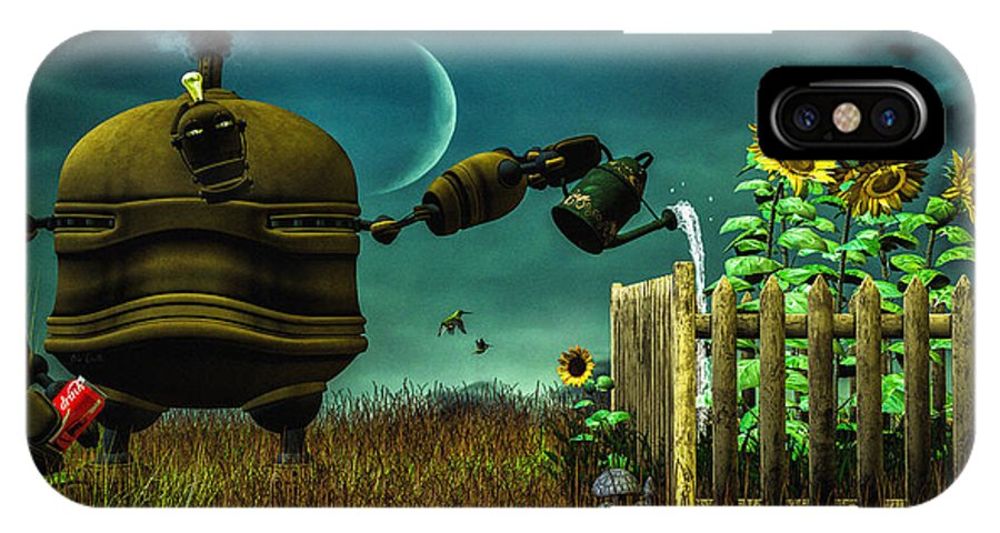 Robot IPhone X Case featuring the digital art The Gardener by Bob Orsillo