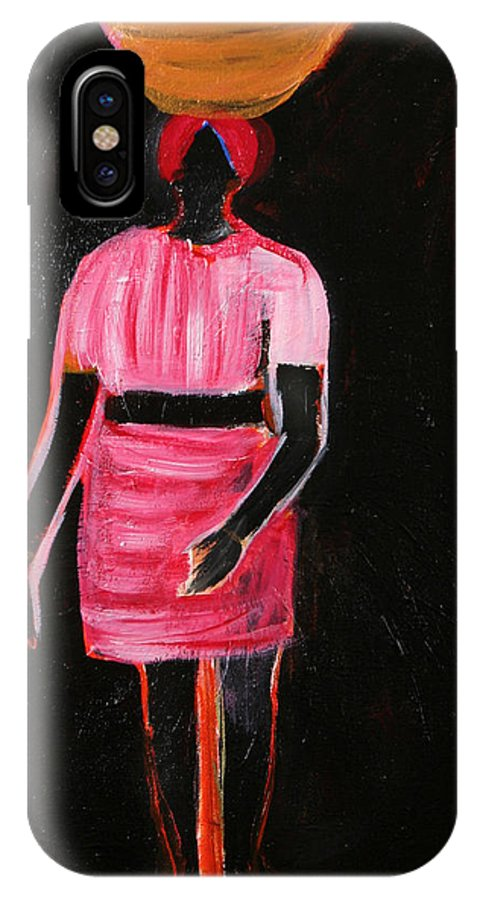 Abstract Painting Of An African Girl IPhone X Case featuring the painting The Girl In The Shadow by Vivian IDOWU