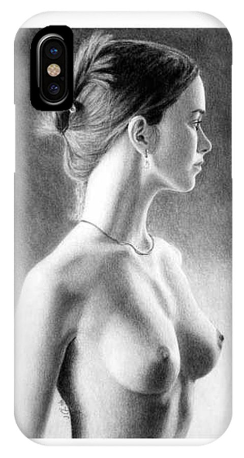Pastel IPhone X Case featuring the painting The Girl With The Glass Earring by Joseph Ogle