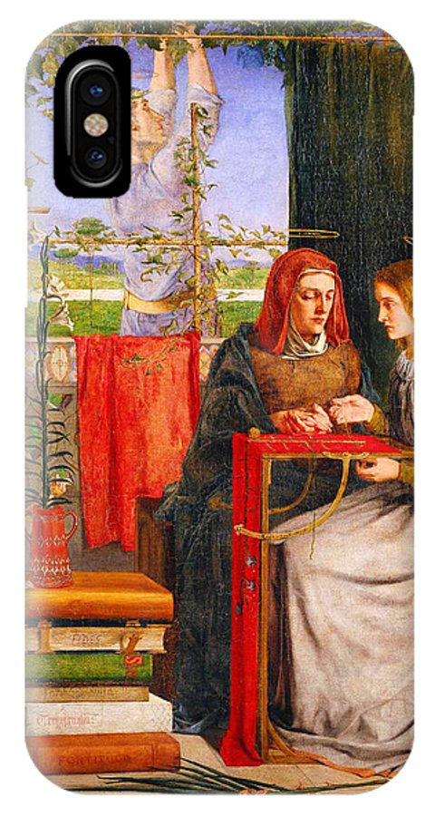 Dante Gabriel Rossettithe Girlhood Of Mary Virgin IPhone X / XS Case featuring the painting The Girlhood Of Mary Virgin by Celestial Images