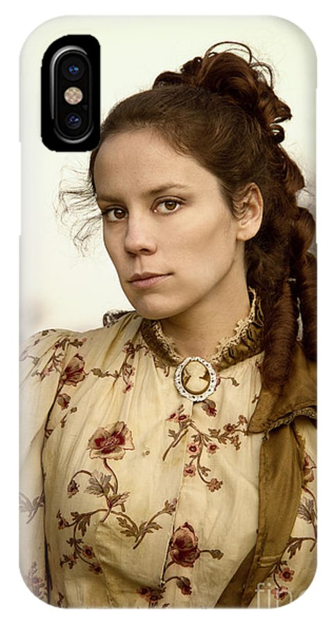 Caucasian; Female; Lady; Woman; 1800s; Floral; Pretty; Beautiful; Lovely; Victorian; Edwardian; Back; Curls; Up Do; Outside; Outdoors; Winter; Fall; Tough; Stare; Staring; Mad IPhone X Case featuring the photograph The Glare by Margie Hurwich