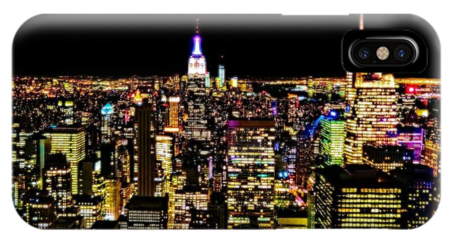The Glow Of The New York City Skyline IPhone X Case featuring the photograph The Glow Of The New York City Skyline by Dan Sproul