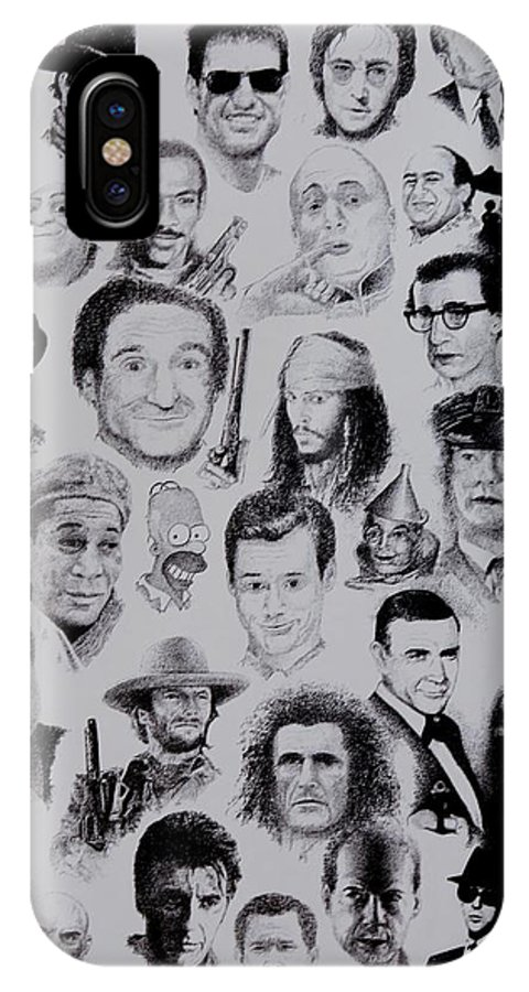Celebrities Posters Movies Portraits Personalities Famous People Movie Stars Actors Male Figures Stars Prints Ink Black And White Godfather Sopranos Pirates Of Carribean Sinatra Cinema IPhone X Case featuring the painting The Good Bad And Ugly by Tony Ruggiero