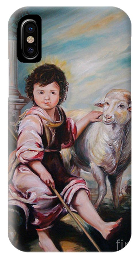 Classic Art IPhone X Case featuring the painting The Good Shepherd by Silvana Abel