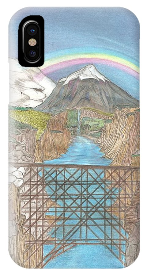 Landscape IPhone X Case featuring the drawing The Gorge by Garland Bell