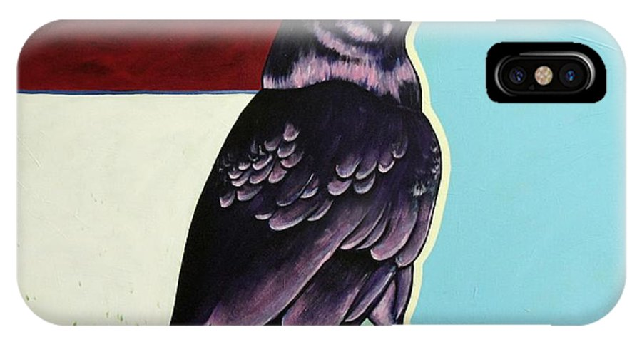 Wildlife IPhone Case featuring the painting The Gossip - Raven by Joe Triano