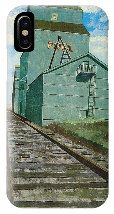 Elevator IPhone X / XS Case featuring the painting The Grain Elevator by Anthony Dunphy