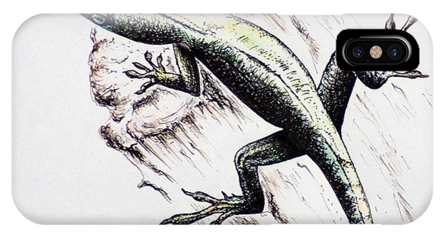 Ink Sketch IPhone X Case featuring the drawing The Green Lizard by Katharina Filus
