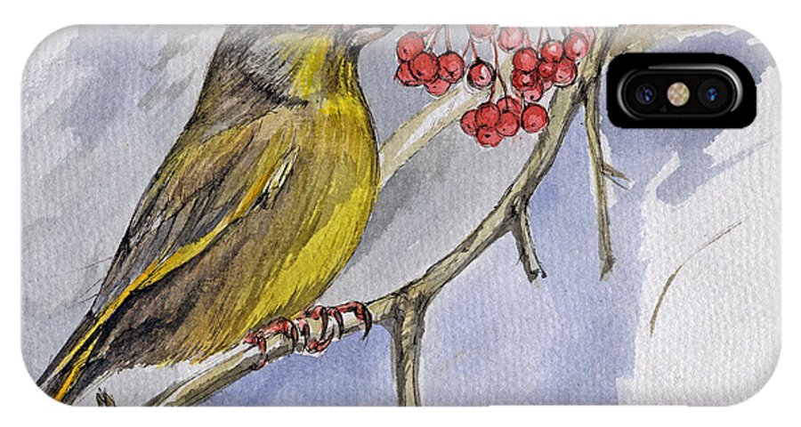Greenfinch IPhone X Case featuring the painting The Greenfinch by Angel Ciesniarska