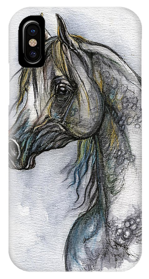Watercolor IPhone X Case featuring the painting The Grey Arabian Horse 10 by Angel Ciesniarska