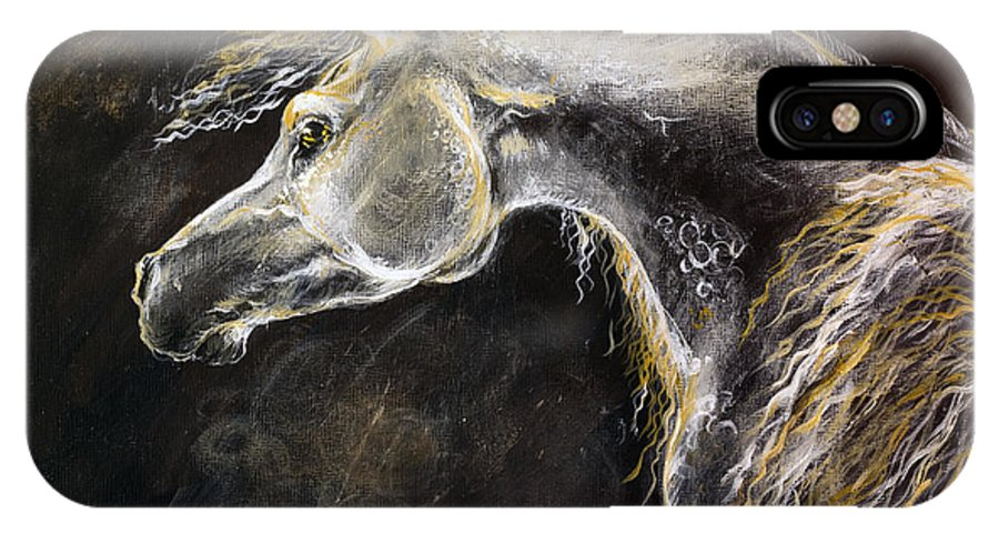 Horse IPhone X Case featuring the painting The Grey Arabian Horse 9 by Angel Ciesniarska