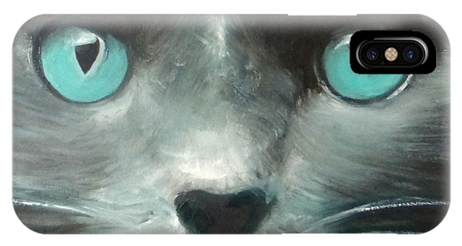 Cat IPhone X Case featuring the painting The Guardian II by Fiona Jack