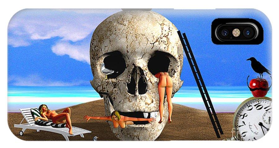 Digitalpainting IPhone X Case featuring the digital art The Happy Bathers by Silvano Franzi