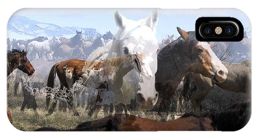 Horses IPhone X Case featuring the photograph The Herd 2 by Kae Cheatham