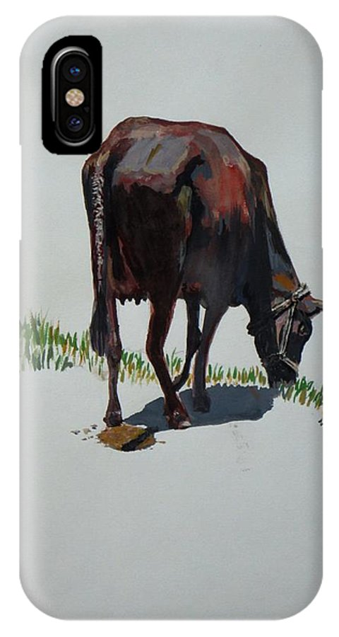 The Holy Cow IPhone X Case featuring the painting The Holy Cow And Dung. by Usha Shantharam